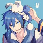 1boy akiyoshi_(tama-pete) animal animal_on_head blue_background blue_eyes blue_hair blue_neckwear blue_ribbon blue_scarf blue_theme blush_stickers bunny_on_head close-up coat collarbone face facing_viewer hair_between_eyes hand_up head_tilt headset high_collar kaito_(vocaloid) light_smile looking_at_animal looking_up lowres male_focus on_head parted_lips pom_pom_(clothes) rabbit rabbit_yukine ribbon scarf shiny shiny_hair simple_background tsurime upper_body vocaloid white_coat