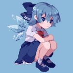 1girl :| adapted_costume ahiru_tokotoko ankle_socks bangs bare_arms blue_background blue_bow blue_eyes blue_footwear blue_hair blue_skirt bow bowtie cirno closed_mouth collared_shirt dot_nose elbow_rest frills from_side full_body hair_between_eyes hair_bow half_updo high-waist_skirt ice ice_wings large_bow legs_together looking_away lowres mary_janes petticoat pixel_art puffy_short_sleeves puffy_sleeves red_bow red_neckwear shirt shoes short_hair short_sleeves simple_background sitting skirt socks solo sparkle touhou wings