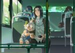 2boys animal_ears black_hair black_pants blue_overalls blurry blurry_background blurry_foreground blush bus_interior cat_boy cat_ears child chinese_clothes feet_out_of_frame highres jacket long_hair luoxiaohei multiple_boys pants rrr_(reason) shadow shirt short_hair short_sleeves sitting striped striped_shirt the_legend_of_luo_xiaohei white_hair white_jacket white_shirt window wuxian_(the_legend_of_luoxiaohei)