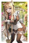 1girl animal_ear_fluff animal_ears apron bangs bell blonde_hair blue_eyes blurry blurry_background blush bow bowtie breasts broom brown_dress brown_legwear brown_ribbon cat_ears cat_girl cat_tail commentary_request dress eyebrows_visible_through_hair fang feet_out_of_frame frilled_dress frills garter_straps hair_between_eyes hair_ribbon hands_up highres holding holding_broom jingle_bell juliet_sleeves long_hair long_sleeves looking_at_viewer maid maid_apron minttchocok neck_bell original outdoors parted_lips pink_bow pink_neckwear pink_ribbon puffy_sleeves ribbon skin_fang solo standing tail tail_ornament tail_raised tail_ribbon thigh-highs tree very_long_hair white_apron