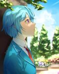 1boy against_tree artist_name bangs blue_hair blurry blush collared_shirt depth_of_field ensemble_stars! from_side green_jacket jacket male_focus meipoi necktie open_mouth outdoors profile red_neckwear school_uniform shino_hajime shirt short_hair solo tree upper_body violet_eyes