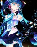 1girl armpit_crease bare_shoulders black_background black_legwear black_skirt blue_eyes blue_neckwear blue_theme breasts collared_shirt colorful dark_background darkness detached_sleeves dissolving english_text expressionless eyelashes facing_away floating_hair glint glowing hatsune_miku headset highres karanagare_4 light_particles long_hair looking_afar necktie parted_lips pleated_skirt shirt shoulder_tattoo simple_background skirt sleeveless sleeveless_shirt small_breasts solo tareme tattoo thigh-highs twintails vocaloid white_shirt zettai_ryouiki