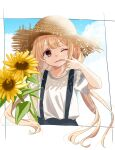 1girl bangs blonde_hair blue_skirt blue_sky border brown_hair brown_headwear clouds commentary dot_nose eyebrows_visible_through_hair eyelashes finger_in_mouth flower futaba_anzu hat highres holding holding_flower idolmaster idolmaster_cinderella_girls idolmaster_cinderella_girls_starlight_stage mouth_pull one_eye_closed outdoors rino_cnc shirt short_sleeves sidelocks skirt sky solo straw_hat sunflower suspender_skirt suspenders twintails upper_body white_shirt