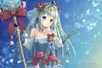 1girl aqua_dress aqua_gloves bangs bare_shoulders bell blue_eyes blush bow braid chika_(princess_connect!) commentary_request detached_sleeves dress eyebrows_visible_through_hair fur_collar fur_trim gloves green_hair hair_ornament highres holding holding_staff itone_114 long_hair looking_at_viewer princess_connect! red_bow red_sash sash sidelocks smile solo staff strapless strapless_dress tiara