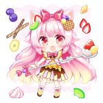 1girl animal_ear_fluff animal_ears bangs blush boots bow cat_ears chibi commentary_request dress eyebrows_visible_through_hair fang food food-themed_clothes food-themed_hair_ornament fruit full_body gradient_hair hair_bow hair_ornament holding holding_spoon light_brown_hair long_hair looking_at_viewer multicolored_hair open_mouth original oversized_object pink_hair red_bow red_eyes shikito solo spoon standing strawberry strawberry_hair_ornament very_long_hair