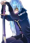 1other androgynous bangs belt blue_hair closed_mouth commentary_request eyebrows_visible_through_hair hair_between_eyes highres holding holding_sword holding_weapon jacket katana light_particles long_hair long_sleeves one_eye_covered rimuru_tempest sheath sheathed shirane_rine simple_background solo sword tensei_shitara_slime_datta_ken weapon white_background yellow_eyes
