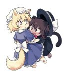 2girls :d :o animal_ear_fluff animal_ears animal_nose back_bow bangs black_capelet black_eyes black_headwear blonde_hair bow brown_eyes brown_hair capelet cat_ears cat_girl cat_tail chibi collared_dress dress eyebrows_visible_through_hair floating frilled_hat frills from_behind from_side full_body furrification furry hair_between_eyes hair_bow hair_ribbon hat hat_bow hat_ribbon hug light_blush long_dress long_sleeves looking_at_another looking_to_the_side lowres maribel_hearn mob_cap multicolored multicolored_eyes multiple_girls open_mouth parted_lips paws petticoat puffy_short_sleeves puffy_sleeves purple_dress re_ghotion red_bow red_neckwear ribbon sash short_hair short_sleeves simple_background smile tail tareme touhou tress_ribbon usami_renko v-shaped_eyebrows violet_eyes wavy_hair white_background white_bow white_headwear white_ribbon yellow_eyes