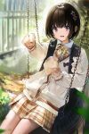 1girl :d backpack bag bangs black_hair blurry blurry_background blurry_foreground blush bosack bow bowtie brown_shirt collared_shirt food hair_ornament holding holding_food long_sleeves looking_at_viewer open_mouth original outdoors outstretched_arm pleated_skirt school_uniform shirt short_hair sitting skirt smile solo swing tire violet_eyes white_shirt yellow_bow yellow_neckwear yellow_skirt