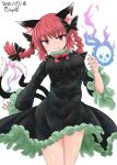 1girl :3 animal_ear_fluff animal_ears artist_name black_bow black_dress bow bowtie braid cat_ears cat_tail chups closed_mouth cowboy_shot dated dress extra_ears eyebrows_visible_through_hair hair_bow hair_ribbon hand_up highres hitodama kaenbyou_rin light_blush long_hair long_sleeves looking_at_viewer multiple_tails nail_polish nekomata petticoat pointy_ears red_bow red_eyes red_nails red_neckwear redhead ribbon signature simple_background skull solo tail touhou tress_ribbon twin_braids twintails two_tails white_background