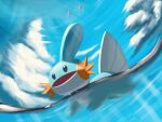 black_eyes clouds commentary_request creature day fkinoee gen_3_pokemon highres mudkip no_humans open_mouth outdoors partially_underwater_shot pokemon pokemon_(creature) sky starter_pokemon water
