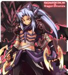 1boy armor assassin_(ragnarok_online) bandages bangs black_gloves black_wings cape character_request closed_mouth commentary_request cowboy_shot crossover dragon_chronicle emon-yu fang fang_out fingerless_gloves gloves head_wings holding holding_weapon long_hair looking_at_viewer male_focus pants parted_bangs pauldrons purple_cape purple_pants ragnarok_online red_eyes scarf shiny shiny_skin shoulder_armor smile solo torn_cape torn_clothes waist_cape weapon wings