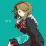 1girl bangs black_dress blush_stickers commentary_request cowboy_shot danganronpa_(series) danganronpa_another_episode:_ultra_despair_girls dated dress frills from_side green_background green_eyes green_hair hairband hand_up index_finger_raised kiri_(2htkz) long_sleeves looking_at_viewer medium_hair red_hairband ribbon simple_background smile solo towa_monaka
