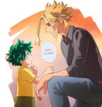 2boys all_might alternate_costume black_hair black_shirt blonde_hair blue_eyes blue_pants blue_sclera boku_no_hero_academia child colored_sclera english_commentary english_text eye_contact from_side green_eyes green_hair highres looking_at_another looking_up male_focus midoriya_izuku multicolored multicolored_background multiple_boys one_knee open_mouth orange_background pants profile shirt short_hair sitting smile speech_bubble trevo_(trevoshere) yagi_toshinori yellow_shirt younger