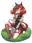 1girl animal animal_ears black_dress blush boots bow bowtie brown_footwear brown_hair cat clothes_writing dress finger_to_mouth hattori_masaki highres horse_ears horse_girl horse_tail index_finger_raised juliet_sleeves knee_boots long_hair long_sleeves nice_nature_(umamusume) parted_lips puffy_sleeves redhead shirt shushing solo striped striped_bow striped_neckwear tail two_side_up umamusume white_shirt yellow_eyes