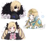 1boy 2girls armor bangs black_armor black_dress black_eyepatch black_eyes black_ribbon blonde_hair blue_dress blue_eyes blue_hair blush bow bowtie cape closed_mouth commentary_request dimitri_alexandre_blaiddyd dress drill_hair earrings elise_(fire_emblem) eyebrows_visible_through_hair eyepatch feather_trim fingernails fire_emblem fire_emblem:_three_houses fire_emblem_fates fire_emblem_heroes fjorm_(fire_emblem) flower fur-trimmed_cape fur_trim gradient_hair hair_between_eyes hair_ornament hair_ribbon hand_on_own_chest highres jewelry long_hair looking_at_viewer looking_away misato_hao multicolored_hair multiple_girls open_mouth pink_bow pink_eyes pink_neckwear ribbon short_hair signature simple_background smile snowflakes tiara twin_drills twintails two-tone_hair white_background white_flower