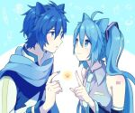 1boy 1girl akiyoshi_(tama-pete) animal_ears bangs bare_shoulders blue_background blue_eyes blue_hair blue_nails blue_neckwear blue_scarf blue_theme cat_ears close-up closed_mouth coat collared_shirt detached_sleeves eye_contact eyelashes face-to-face fingernails grey_shirt hair_between_eyes hand_up hatsune_miku high_collar index_finger_raised kaito_(vocaloid) kemonomimi_mode long_hair looking_at_another necktie number_tattoo pale_skin parted_lips scarf shiny shiny_skin shirt shoulder_tattoo simple_background sleeveless sleeveless_shirt smile tareme tattoo twintails two-tone_background upper_body very_long_hair vocaloid white_background white_coat