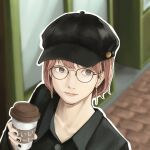 1girl black_clothes black_headwear black_nails black_shirt brown_eyes cabbie_hat cup disposable_cup earrings glasses hat highres jewelry lips makko_(user_kvud5535) nail_polish original pink_hair shirt short_hair solo upper_body