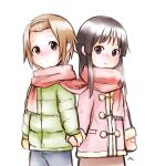 2girls akiyama_mio black_hair blush brown_hair een941 hairband highres holding_hands k-on! long_hair mittens multiple_girls scarf shared_scarf short_hair tainaka_ritsu winter_clothes