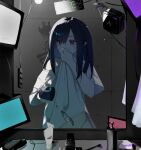 1girl arknights bangs black_hair bottle clock closure_(arknights) clothes_lift cup digital_clock hair_between_eyes hair_dryer hand_to_own_mouth highres holding holding_cup karasuri long_hair mirror monitor power_strip red_eyes reflection shirt shirt_lift sink soap_bottle solo toothbrush tube two_side_up water white_shirt wiping_mouth
