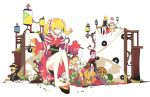 alice_margatroid alternate_costume alternate_hairstyle bare_shoulders blonde_hair blue_eyes doll flower highres ideolo japanese_clothes kimono obi puppet sash sitting spread_legs tagme thighs touhou twintails white_background