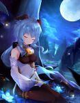 1girl aqua_hair bangs bare_shoulders bell black_legwear brown_bodysuit closed_eyes clouds cloudy_sky collar commentary_request detached_sleeves eyebrows_visible_through_hair flower ganyu_(genshin_impact) genshin_impact highres horns long_hair moon nature neck_bell night on_ground outdoors poumi sitting sky sleeping sleeves_past_fingers sleeves_past_wrists smile solo star_(sky) starry_sky white_collar