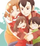 2boys 2girls bandana black_hair brother_and_sister brown_hair caroline_(pokemon) closed_eyes earrings family father_and_daughter father_and_son glasses group_hug gym_leader hagino_aki hug husband_and_wife jewelry lowres max_(pokemon) may_(pokemon) mother_and_daughter mother_and_son multiple_boys multiple_girls norman_(pokemon) pokemon pokemon_(anime) pokemon_rse_(anime) red_bandana short_hair short_hair_with_long_locks siblings smile