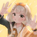 1girl absurdres against_fourth_wall against_glass asymmetrical_bangs bangs braid braided_bangs cheek_press fourth_wall grey_hair hairband hands_up highres hisakawa_nagi idol idolmaster idolmaster_cinderella_girls idolmaster_cinderella_girls_starlight_stage looking_at_viewer open_mouth reiry_(0ry_rei) simple_background solo twintails uneven_eyes upper_body