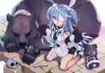 1girl :d animal animal_ears bandage_over_one_eye bare_shoulders bear black_choker black_shorts blue_eyes blue_hair bone boots bow bowtie breasts choker elbow_gloves fang gloves hair_between_eyes highres hood hood_down kneeling linmiu_(smilemiku) little_witch_nobeta long_hair looking_at_viewer monica_(little_witch_nobeta) open_mouth paw_gloves paws rabbit_ears revealing_clothes short_shorts shorts sideless_outfit skull small_breasts smile socks solo stuffed_animal stuffed_toy teddy_bear thighs two_side_up very_long_hair