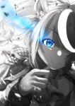 1girl animal_ears artist_name bangs blue_eyes commentary_request eyebrows_visible_through_hair hair_ornament highres long_hair looking_at_viewer monochrome neckwear sidelocks smile solo spot_color tokai_teio_(umamusume) tsukiyono umamusume