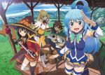 1boy 3girls aqua_(konosuba) artist_request asymmetrical_legwear bandaged_leg bandages belt_buckle black_cape blonde_hair blue_eyes blue_hair blue_sky boots bow bowtie breasts brown_hair buckle button_eyes cape closed_eyes collarbone collared_cape commentary_request darkness_(konosuba) day detached_sleeves dress fingerless_gloves gem gloves green_eyes hair_rings hat holding holding_staff knee_up kono_subarashii_sekai_ni_shukufuku_wo! long_hair looking_at_viewer medium_breasts megumin mismatched_legwear mountainous_horizon multiple_girls neck_ribbon official_art open_mouth outdoors ponytail red_dress red_eyes ribbon satou_kazuma shiny shiny_hair short_hair short_hair_with_long_locks sidelocks single_thighhigh sitting sky sleeveless small_breasts staff standing sword symbol_commentary thigh-highs weapon wing_collar witch_hat