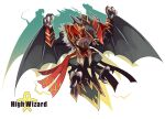black_wings bracer capelet character_name character_request commentary_request crossover dragon dragon_chronicle emon-yu full_body fur-trimmed_capelet fur_trim high_collar high_wizard_(ragnarok_online) no_humans open_mouth ragnarok_online red_capelet shirt white_background white_shirt wings
