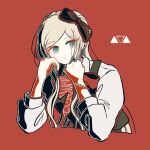 1girl artist_logo bangs black_bow blonde_hair blue_eyes bow bracelet braid brown_bow closed_mouth commentary_request cropped_torso danganronpa_(series) danganronpa_2:_goodbye_despair dress eyebrows_visible_through_hair frown hair_bow hand_on_own_face hands_up head_rest jewelry kiri_(2htkz) long_hair long_sleeves looking_at_viewer red_background red_bow ribbon shirt short_hair simple_background sleeves_past_elbows smile solo sonia_nevermind upper_body white_shirt