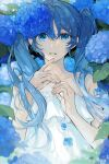 1girl bangs bare_arms blue_eyes blue_flower blue_hair blue_theme chromatic_aberration collarbone colored_eyelashes dappled_sunlight dot_nose dress eyebrows_visible_through_hair eyelashes fingernails flat_chest floating_hair flower frilled_dress frills glowing hair_between_eyes hands_up hatsune_miku highres hydrangea layered_dress leaf light_particles long_hair looking_at_viewer makoto_(roketto-massyumaro) motion_blur parted_lips solo strapless strapless_dress sunlight tareme twintails upper_body very_long_hair vocaloid white_dress wide-eyed