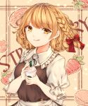 1girl apron background_text bangs berry black_bow black_neckwear blonde_hair bow braid brown_dress buttons chiyu_(kumataro0x0) closed_mouth collar cream cup disposable_cup dress eyebrows_visible_through_hair food fruit glass hair_between_eyes hair_bow hands_up highres kirisame_marisa looking_at_viewer macaron no_hat no_headwear orange_background puffy_short_sleeves puffy_sleeves red_bow short_hair short_sleeves single_braid smile smoothie solo starbucks strawberry tongue tongue_out touhou white_apron white_collar white_sleeves yellow_eyes