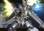 destiny_gundam energy_wings f91_gundam fusion gamiani_zero glowing glowing_eyes glowing_hand green_eyes gundam gundam_f91 gundam_seed gundam_seed_destiny highres impulse_gundam looking_up mecha mobile_suit no_humans open_hand science_fiction solo v-fin