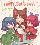3girls :d ;) ^_^ animal_ear_fluff animal_ears arinu black_footwear black_shirt blue_eyes blue_hair brooch cloak closed_eyes closed_mouth confetti dated dress eyebrows_visible_through_hair fang frilled_kimono frills grass_root_youkai_network green_kimono hands_together happy_birthday hat head_fins highres holding holding_clothes holding_hat imaizumi_kagerou japanese_clothes jewelry kimono long_sleeves looking_at_viewer mermaid monster_girl multicolored multicolored_clothes multicolored_dress multiple_girls one_eye_closed open_mouth party_hat red_dress red_eyes red_skirt redhead sekibanki shirt short_hair simple_background skirt smile standing touhou two-tone_dress wakasagihime white_dress wolf_ears