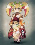1girl alternate_costume bag bangs blonde_hair blush_stickers bow cat_hair_ornament closed_mouth commentary danganronpa_(series) danganronpa_2:_goodbye_despair full_body furukawa_(yomawari) gradient gradient_background grey_background hair_bow hair_ornament highres holding holding_bag japanese_clothes kimono long_hair long_sleeves looking_at_viewer obi orange_eyes print_kimono saionji_hiyoko sash shiny shiny_hair socks solo translation_request twintails