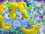 artist_name bamboo blue_eyes commentary_request cotton_(watakusa) floating full_body gen_3_pokemon happy highres jirachi legendary_pokemon mythical_pokemon night open_mouth outdoors outline pokemon pokemon_(creature) signature smile solo white_outline