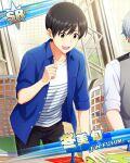 black_hair blue_eyes character_name dress fuyumi_jun idolmaster idolmaster_side-m short_hair smile