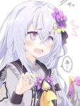 1girl absurdres akatama_man azusa_(blue_archive) blue_archive blush commentary_request flower hair_between_eyes hair_flower hair_ornament headpat highres long_hair open_mouth school_uniform silver_hair simple_background solo sweat translation_request violet_eyes white_background wings