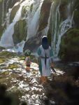 2boys animal_ears black_hair cat_boy cat_ears chenalii child day facing_away from_behind highres long_hair low-tied_long_hair luoxiaohei multiple_boys outdoors rock short_sleeves soaking_feet the_legend_of_luo_xiaohei very_long_hair water waterfall wuxian_(the_legend_of_luoxiaohei)