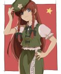 1girl bangs blue_eyes border bow braid breasts brown_hair chinese_clothes closed_mouth collar dress eyebrows_visible_through_hair green_bow green_dress green_headwear green_neckwear hair_bow hand_on_headwear hand_on_hip hand_up hat hong_meiling kerok_(joniko1110) long_hair looking_to_the_side medium_breasts puffy_short_sleeves puffy_sleeves red_background short_sleeves simple_background smile solo standing star_(symbol) touhou twin_braids white_border white_collar white_sleeves