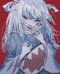 1girl animal_hood blue_hair blue_hoodie evil_eyes eyebrows_visible_through_hair fang full_burrrrrrst gawr_gura hair_ornament highres hololive hololive_english hood hood_down hoodie long_hair looking_at_viewer messy_hair multicolored_hair nail_polish open_mouth red_eyes red_nails shark_hair_ornament shark_hood shark_print silver_hair simple_background skin_fang sleeves solo streaked_hair two_side_up upper_body virtual_youtuber wide_sleeves