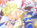 7_hachi_9 black_gloves blonde_hair blue_gloves djeeta_(granblue_fantasy) flower flower_necklace gauntlets gloves gran_(granblue_fantasy) granblue_fantasy head_wreath jewelry lancelot_(granblue_fantasy) lyria_(granblue_fantasy) necklace percival_(granblue_fantasy) red_gloves siegfried_(granblue_fantasy) smile vane_(granblue_fantasy) vee_(granblue_fantasy) white_gloves wrist_cuffs