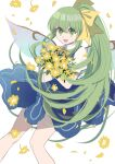 1girl absurdres bangs blue_dress bouquet bow collar crossed_arms daiyousei dress eyebrows_visible_through_hair fairy_wings flower green_eyes green_hair hair_between_eyes hands_up highres leaf long_hair looking_at_viewer open_mouth petals ponytail shocho_(shaojiujiu) short_sleeves simple_background smile solo touhou white_background white_collar white_sleeves wings yellow_bow yellow_flower yellow_neckwear