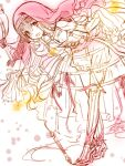 1girl :d bangs corset dress hair_between_eyes holding holding_staff leaning_forward little_red_riding_hood_(sinoalice) lolita_fashion long_hair long_sleeves looking_at_viewer open_mouth red_headwear simple_background sinoalice sketch smile solo staff teroru unfinished white_background white_dress white_hair yellow_eyes