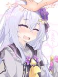 1girl absurdres akatama_man azusa_(blue_archive) blue_archive blush closed_eyes commentary_request flower hair_between_eyes hair_flower hair_ornament happy headpat highres long_hair open_mouth school_uniform silver_hair simple_background solo_focus sweat translation_request white_background wings