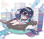 1girl bangs bare_arms bare_legs bare_shoulders barefoot baseball_cap bikini black-framed_eyewear black_bikini black_hair black_headwear black_sailor_collar book book_stack brown_hair chibi clothes_writing commentary_request eyebrows_visible_through_hair fish_hair_ornament food food_in_mouth glasses hair_between_eyes hair_ornament hat headwear_writing holding holding_book long_hair mouth_hold open_book original popsicle sailor_collar satsuki_misuzu semi-rimless_eyewear shirt signature sleeveless sleeveless_shirt solo sparkle swimsuit tied_shirt under-rim_eyewear very_long_hair wading_pool water white_shirt