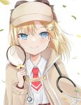 1girl bangs black_bow blonde_hair blue_eyes blush bow brown_headwear brown_jacket closed_mouth collared_shirt commentary deerstalker eyebrows_visible_through_hair hand_up hat highres holding hololive hololive_english jacket long_sleeves looking_at_viewer magnifying_glass necktie open_clothes open_jacket red_neckwear shirt short_necktie simple_background smile solo stethoscope swon_(joy200892) upper_body virtual_youtuber watson_amelia white_background white_shirt