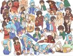 1boy 5girls ahoge alcohol all_fours aqua_(konosuba) arm_around_shoulder arm_support armor armored_boots armpits ass bandaged_leg bandages bare_shoulders beer_mug belt between_breasts blonde_hair blue_eyes blue_footwear blue_hair blue_legwear blue_shirt blue_skirt blush bodystocking boots bottle bow braid breasts brown_belt brown_cape brown_eyes brown_footwear brown_gloves brown_hair cape cheek_pull clenched_hand clenched_hands cloak closed_eyes closed_mouth crown_braid crying cup darkness_(konosuba) detached_sleeves dress fighting_stance fingerless_gloves gloves green_bow green_cape hair_ornament hair_over_one_eye hair_rings hand_to_own_mouth hands_on_hips hat hat_removed headwear_removed high_ponytail holding holding_another holding_bottle holding_sword holding_weapon kneeling kono_subarashii_sekai_ni_shukufuku_wo! large_breasts long_hair looking_down looking_to_the_side looking_up low_tied_hair lying megumin mug multiple_girls naked_towel necktie necktie_between_breasts nude on_stomach open_mouth outstretched_arm partially_submerged pink_neckwear ponytail red_cloak red_dress red_eyes robe satou_kazuma shima_(landsuzume) shirt short_hair short_hair_with_long_locks sidelocks single_thighhigh sitting skirt sleeveless sleeveless_shirt smile squatting standing sword thigh-highs thigh_boots thighhighs_under_boots thighs thumbs_up tongue tongue_out towel tying_hair weapon white_background white_towel witch_hat wiz_(konosuba) writing x_hair_ornament yunyun_(konosuba)